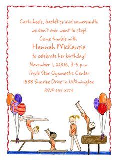 Gymnastic Invitations-  These gymnastic girls are ready to tumble on this party invitation! Personalize this card just the way you like to invite all your friends to your gymnast party!