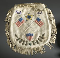Eastern Sioux Hide Pouch with American Flags, (2005, American Indian Auction / Mar 10-11)