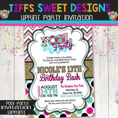 Pool Party Invitation  Summer Party  Water by TiffsSweetDesigns