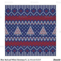 Blue Red and White Christmas Tree Knitted Pattern Poster
