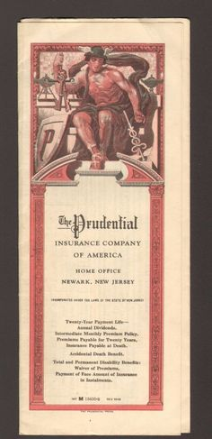 1935 Policy Document The Prudential Insurance Company of America Newark NJ