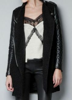#SheInside Black Contrast Leather Quilted Sleeve Zipper Coat - Sheinside.com