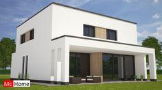 Mc-Home.nl M121 moderne kubistische woning met overdekt terras en veel glas bouwen in Limburg