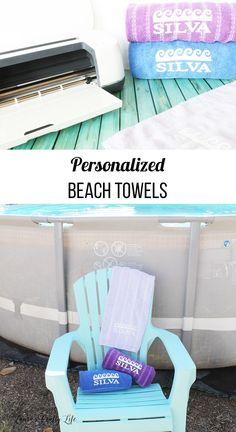 Personalized Beach Towels. Create your own personalized and customized beach towels with iron-on and your Cricut machine. #cricut #cricutmade #personalized #ironon