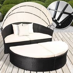 Spectacular Outdoor Patio Sofa Furniture Round Retractable Canopy Daybed Black Wicker Rattan in Garden u Patio Garden u Patio Furniture Furniture Sets