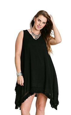 Umgee Women's Boho Chic Sleeveless A Line Dress Plus Size (2X, Black) Umgee http://www.amazon.com/dp/B01C7MSKFK/ref=cm_sw_r_pi_dp_C2p-wb12FQCPJ