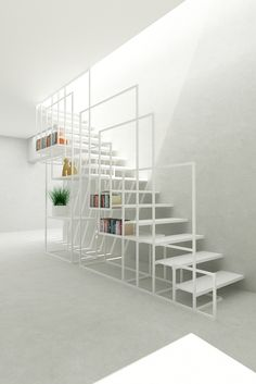 Designed by Amir Zinaburg, the metal Square Staircase owns an elaborate design with a clever storage system. Produced by the manufacture Design and Weld Limited,. Stair Handrail, Staircase Railings, Modern Staircase, Staircase Design, Stair Design, Staircases, Staircase Ideas, Stairs Architecture, Interior Architecture