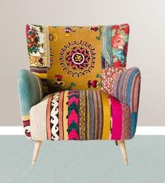 48 Ideas For Patchwork Chair Bright Colors Bohemian Furniture, Funky Furniture, Furniture Styles, Painted Furniture, Furniture Design, Painted Dressers, Plywood Furniture, Chair Design, Design Design