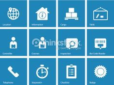 Vector Art : Logistics icons on blue background.