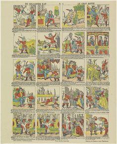 Brepols & Dierckx zoon | De gelaarsde kat / Le chat botté, Brepols & Dierckx zoon, Anonymous, 1833 - 1911 | Blad met 16 voorstellingen uit het sprookje van de gelaarsde kat. Onder elke afbeelding een onderschrift in het Nederlands en in het Frans. Genummerd midden boven: N. 1.