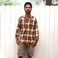 Plaid Flannel Shirt Jacket Brown White 80s by StoryTellersVintage