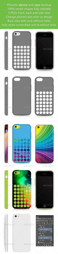 Phone5c Phone Skin and Case design Mockup — Photoshop PSD #hard case #mobile • Available here → https://graphicriver.net/item/phone5c-phone-skin-and-case-design-mockup-/6104373?ref=pxcr