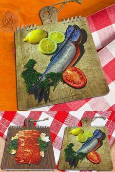 $3 Блокнот для рецептов, 40 листов, перекидной на металлической пружине «Лосось» | Cuisine recipe notepad | Cook note