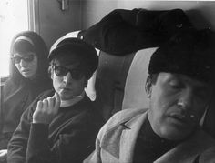 Cynthia, John and Murray the K on the train to Washington, 11 February 1964