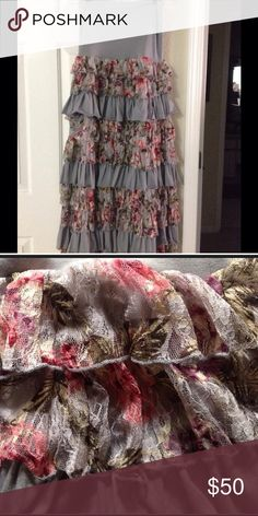 Skirt Beautiful ruffle skirt color is grey & mauve like can be also worn as a dress would look cute with a denim jacket for casual or dress it up with a burgundy blouse and black heels,  in great condition Rachel & Chole Skirts Maxi
