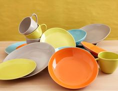 Evora colourful dinnerware plates bowls and mugs & Hexa yellow tableware range with dinner plates bowls and mugs ...