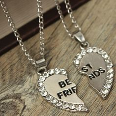 Rhinestone Broken Heart Double Parts Necklaces