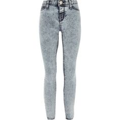 Girls light blue acid wash jeggings - trousers / leggings - girls
