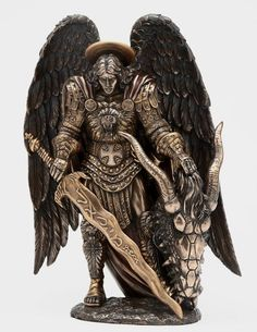 Details About ARCHANGEL ST MICHAEL DEVIL Dragon SLAYER STATUE Bronze