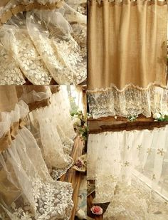 """Soft textures, feminine accents, natural tones, and delicate materials is what describes this specially treated handmade burlap fabric shower curtain. Created with a """"shabby chic"""" theme, this style of curtain fits well in bathrooms with rustic and cottage styled décor."""