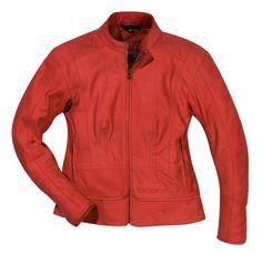 """Veste moto ou scooter femme Difi en cuir rouge ou noir """"Daphné"""". - vêtements moto/Vêtements cuir - la-caverne-du-casque-moto"""