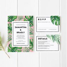 Printable Wedding Invitation Template Set, Wedding Invitation, Tropical Leaf, Modern, Organic, Green, Leaves, Philodendron, Palms, Palm Leaf