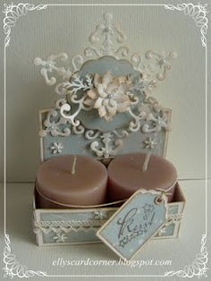 Elly's Card- Corner: Little caddy to hold two candles. Very pretty!