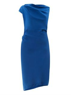 """Vivienne Westwood Anglomania Drape-front fitted dress (156112) $353 """"Vivienne Westwood Anglomania's royal-blue Drape front fitted dress brings a bright edge to elegant dressing. An asymmetric cut and off-centre back V bring recognisable traits to the silhouette, asking for little by way of accessories."""""""