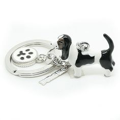 A metal, very carefully made keychain depicting a basset hound dog. Dog Paws, Pet Dogs, Picture Keychain, Basset Hound Dog, Saint Christopher, Animals Dog, Key Rings, Keychains, Charms