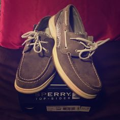 Sperry - Top Sider - Gray Graphite/Floral Sperry - Gray with floral print/sequined embellishment - basically new - worn ONCE!!! So cute - perfect for spring :)) Sperry Top-Sider Shoes Flats & Loafers