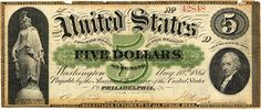 "President Abraham Lincoln signed the ""First Legal Tender Act"" February 25th 1862, authorizing the issue of United States Notes for Legal Tender."