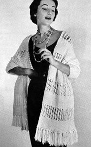 Fireside Shawl knit pattern from Stoles & Shrugs, originally published by Spinnerin Yarn Co, Volume No. 122, in 1953.