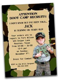 Printable Army Boot Camp Birthday Invitation with Photo- Camo