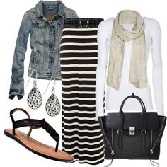 Striped Maxi Skirt and the ever-present and oh-so-versatile denim jacket!