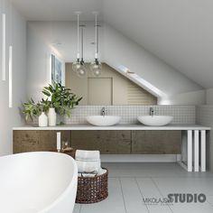 Bathroom Windows, Attic Bathroom, Modern Bathroom, Bathrooms, Sweet Home, New Homes, Bathtub, Interior Design, Inspiration
