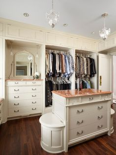 Closet, Fabulous Stylish Small Walk In Closet Design With White Elegant Bureau With Brown Marble Countertop Also Elegant Pendant Lights Desi...