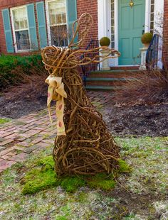 Easter rabbit. Made from bittersweet vines. This garden sculpture stands almost 4 feet tall.