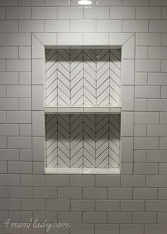 Herringbone tile for shower niche Upstairs Bathrooms, Basement Bathroom, Small Bathroom, Master Bathroom, Shower Bathroom, Wood Bathroom, Subway Tile In Shower, Shower Accent Tile, Tile Shower Niche