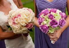 Not too crazy about the bouquet on the left, but really like the one on the right. -Photographed by: Davina + Daniel -- Featured: on The Knot
