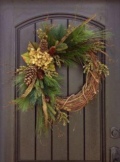 Fall Wreath-Autumn Wreath-Twig-Winter Christmas Holiday Wreath- Grapevine Door Decor-Fall Decor on Etsy, $85.00: