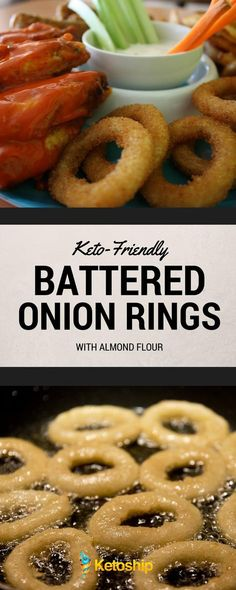 If you read our post about low-carb dips and accompaniments a short while back, then you may have seen mentioned an upcoming recipe for keto-friendly battered onion rings. Well, today you're … Ketogenic Recipes, Low Carb Recipes, Cooking Recipes, Cetogenic Diet, Aperitivos Keto, Low Carb Appetizers, Low Carb Side Dishes, Main Dishes, Keto Snacks