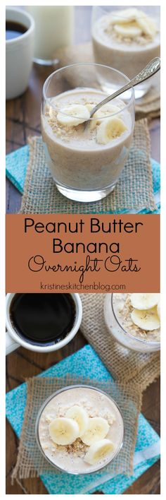 and Banana Overnight Oats. Healthy and less than 5 minutes prep for this delicious breakfast!Peanut Butter and Banana Overnight Oats. Healthy and less than 5 minutes prep for this delicious breakfast! Breakfast Smoothies, Healthy Breakfast Recipes, Brunch Recipes, Healthy Snacks, Brunch Ideas, Peanut Butter Recipes, Oatmeal Recipes, Banana Overnight Oats, Overnight Breakfast