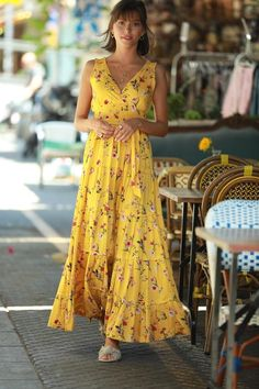 "Yellow Floral Romantic Maxi Dress, Bohemian Urban Summer Dress, Resort Vacation Dress for Women, ""Carrie"" dress, Boho Rustic Summer dress Queer Fashion, Korean Fashion, Fashion 2020, Simple Dresses, Summer Dresses, Black Girl Fashion, Vacation Dresses, Everyday Dresses, Red Blouses"