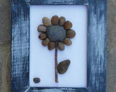 Pebble Art / Rock Art Flowers set of 2 pretty by CrawfordBunch