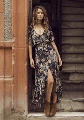 Delilah Frill Maxi Dress Delilah Bloom Black | AUGUSTE