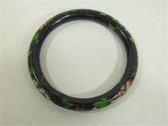 """Vintage Cloisonne Bracelet Black With Floral Design 3"""" Diameter Jewelry #Unbranded #Bangle #cloisonne"""