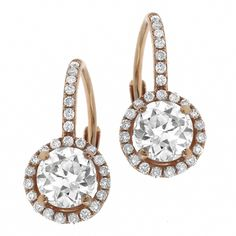 Victorian Style 1.30ct Diamond Gold Earrings