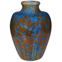 "Pierrefonds, floor vase, #600, France, crystalline glazed ceramic, marked, numbered, 12""dia x 16.5""h"
