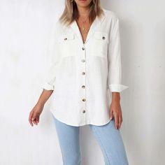 d5da90612d4 2018 Осень Новая Модная хлопковая блузка женская рубашка с длинным рукавом  черная белая кнопка карманы Повседневная
