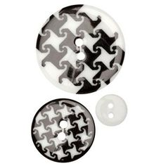 Fashion Buttons 1/2'', 1.00'', 1 3/8'' Coordinates Houndstooth Black/White - Discount Designer Fabric - Fabric.com